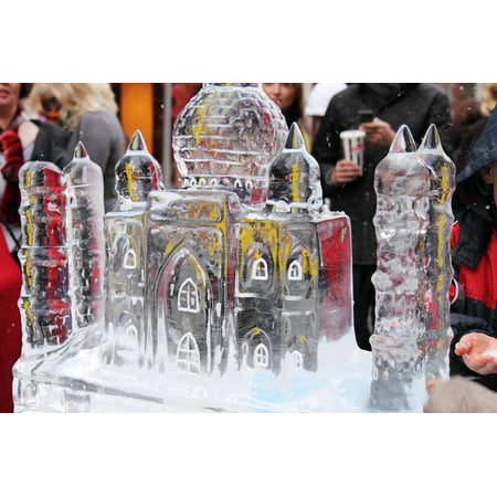 Canvas Print Frozen Christmas Crystal Cold Sculpture Ice Frost Stretched Canvas 10 x 14