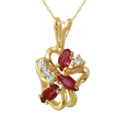 Foreli 0.85CTW Ruby And Diamond 14K Yellow Gold Necklace by Generic