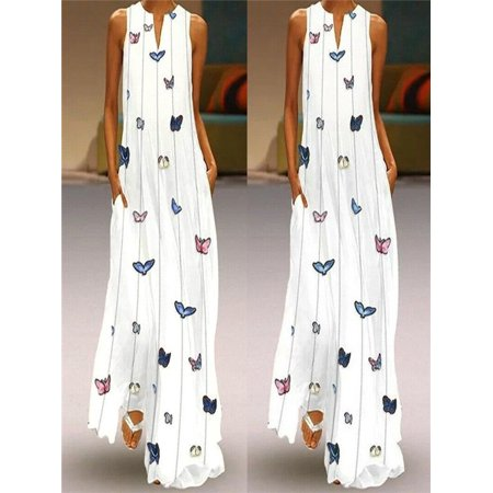 Women Vintage Daily Casual Sleeveless Striped Butterfly Printed Summer (Womens Butterfly)