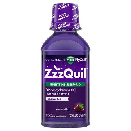 Vicks ZzzQuil Nighttime Sleep Aid Liquid, Warming Berry Flavor, Fall Asleep Fast and Wake Refreshed, 12 Fl oz