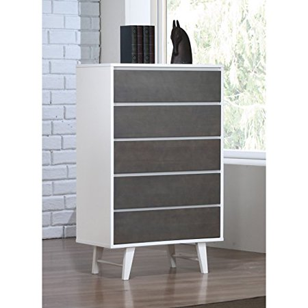 Mid Century Wood 5 Drawer Dresser in White Finish with Charcoal Gray Drawer Fronts - Includes Modhaus Living Pen