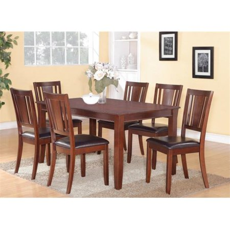DU5-MAH-LC 5 PC Dudley 36 in. x 60 in. Table and 4 Faux Leather Seat Chairs in Mahogany - Faux Leather Mahogany Finish