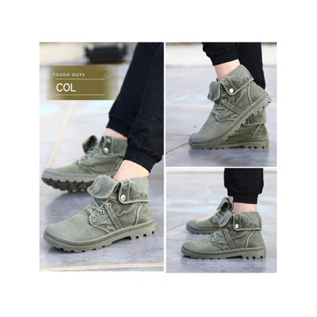 Men's High Top Canvas Sneaker Flanging Ankle Mid-Calf Boots Vintage -