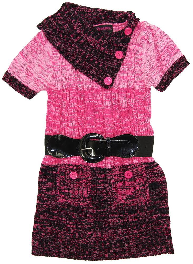 Dollhouse Little Girls Short Sleeve Cardigan Sweater with Elastic Belt, Pink, 4