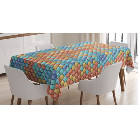 Fish Tablecloth, Maritime Animal Scales Pattern Abstract Geometric Half Circles Mermaid Tail Design, Rectangular Table Cover for Dining Room Kitchen, 52 X 70 Inches, Multicolor, by Ambesonne (Scaly Mermaid Tails)