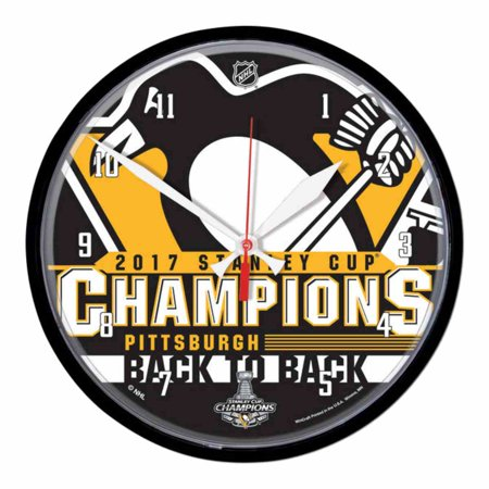 Pittsburgh Penguins 2017 Stanley Cup Champions Back to Back Wall Clock  (12.75