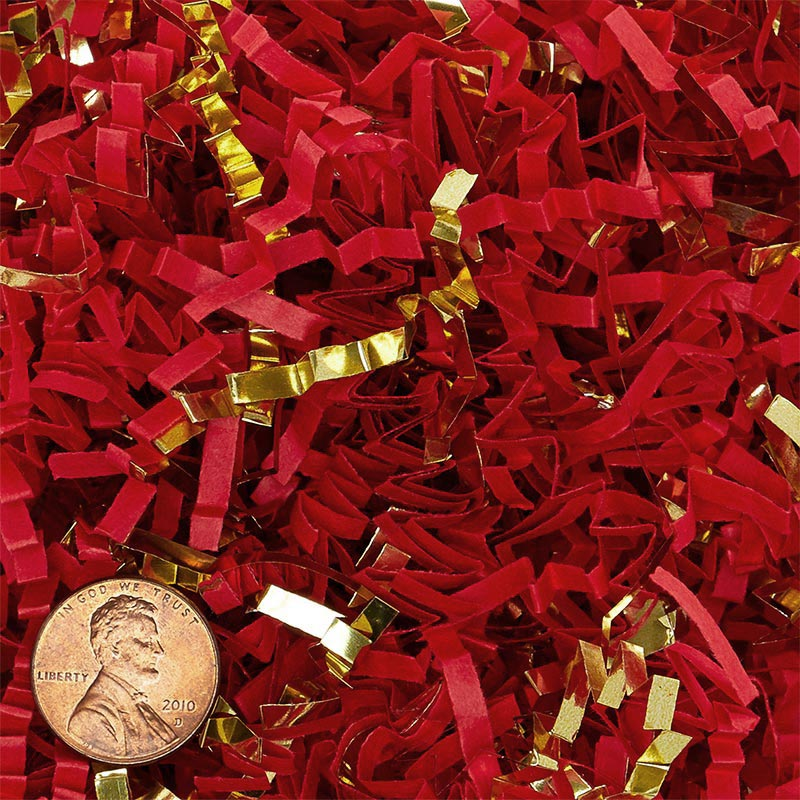 Red And Gold Crinkle Cut Paper Shred by CRINKLE CUT by Paper Mart