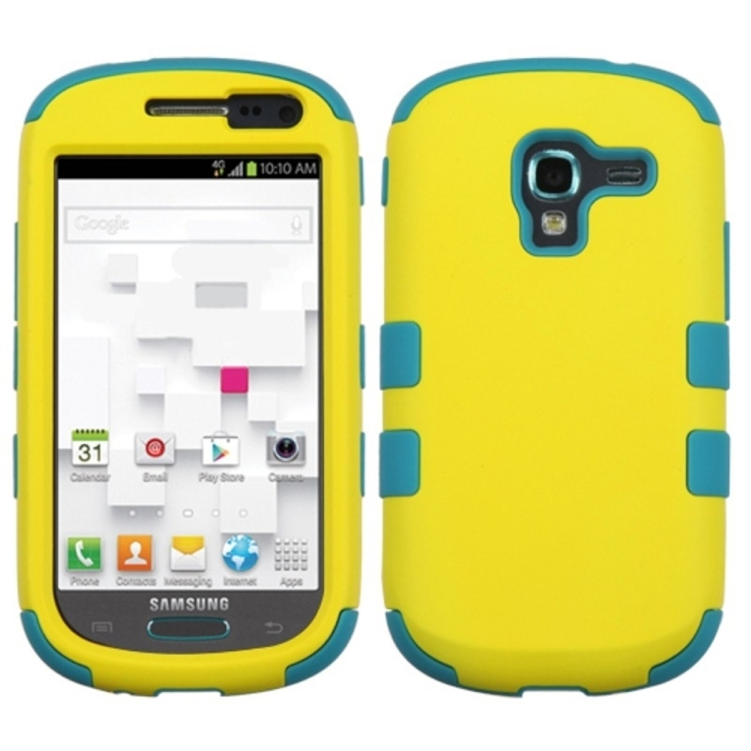 Insten Rubberized Yellow/Tropical Teal TUFF Hybrid Hard Shockproof Case For SAMSUNG T599 Galaxy Exhibit