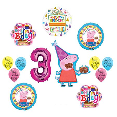 Peppa Pig Pink 3rd Birthday Party Balloon supplies and decorations kit (Peppa Birthday)