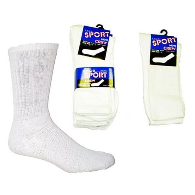YDB 10 to 13 Mens Crew Socks, White - Case of 60
