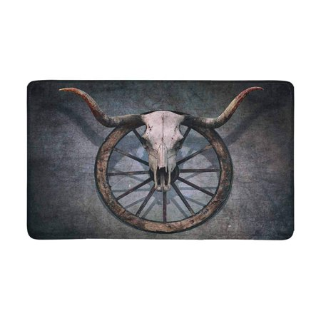 MKHERT Vintage Bull Skull and Old Western Wagon Wheel on Scratched Wall Doormat Rug Home Decor Floor Mat Bath Mat 30x18 inch