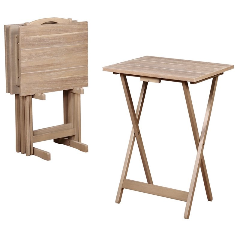 Linon Gray Acacia Tray Table Set, 4 Tray Tables plus Stand