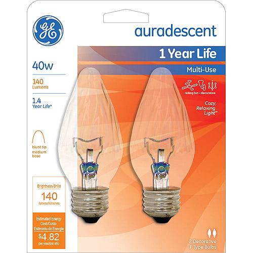 GE 40-Watt Auradescent Flame Tip Decorative Bulb, 2-Pack by Generic