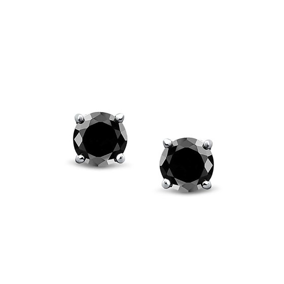 c0fe0b111 iParis - Mens Unisex CZ Round Black Stud Earrings Sterling Silver ...