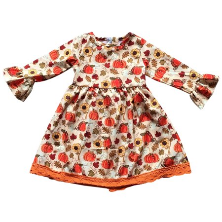 Toddler Girls Ruffle Lace Sleeve Pumpkin Halloween Party Fall Flower Girl Dress Orange 2T XS (P400538P) (Halloween School Girl Fancy Dress)