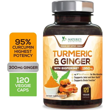 Turmeric Curcumin Highest Potency 95% with Ginger 1950mg with Bioperine Black Pepper for Best Absorption, Made in USA, Best Vegan Joint Pain Relief, Turmeric Pills by Natures Nutrition - 120