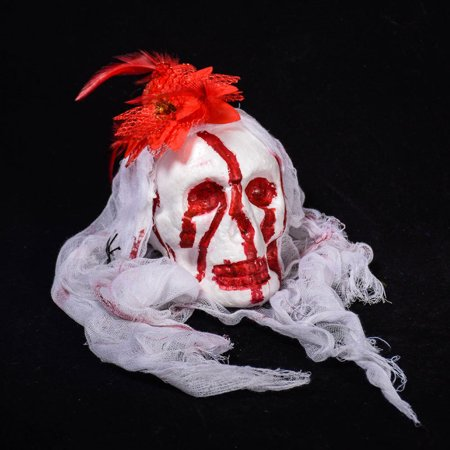 Halloween Bar Haunted House Decoration Props Foam Simulation Bloody Devil Head Cemetery Horror Dress Yarn Hanging Drop Ornaments Color:Whitehead white yarn