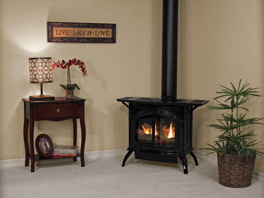 Click here to buy Heritage Cast Iron Porcelain Mahogany Stove DVP20CC70MP Propane.