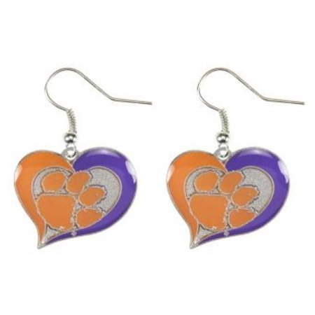 - NCAA Clemson Swirl Heart Shape Dangle Logo Earring Set