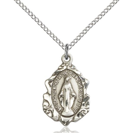 Solid 925 Sterling Silver Miraculous Immaculate Conception Virgin Saint Mary 3 4 X 1 2  Medal Pendant On A 18 Sterling Silver Curb Chain Necklace Gift Boxed