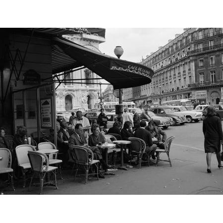 1960s Patrons at Cafe De La Paix Sidewalk Cafe Print Wall Art