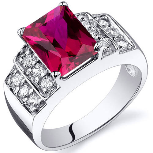 Oravo 3.00 Carat T.G.W. Created Ruby CZ Rhodium over Sterling Silver Ring