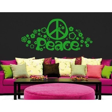 Hippie Peace and Love Sign Wall Decal - Wall Sticker, Vinyl Wall Art, Home Decor, Wall Mural - 2652 - White, 16in x (Peace Sign Wall)