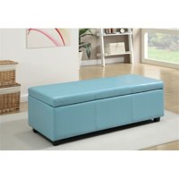 Atlin Designs Faux Leather Storage Bench in Blue