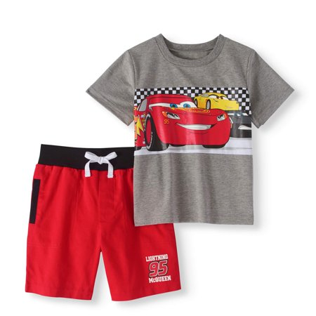 Cars Toddler Boy T-shirt & French Terry Shorts 2pc Outfit Set - Race Car Outfits