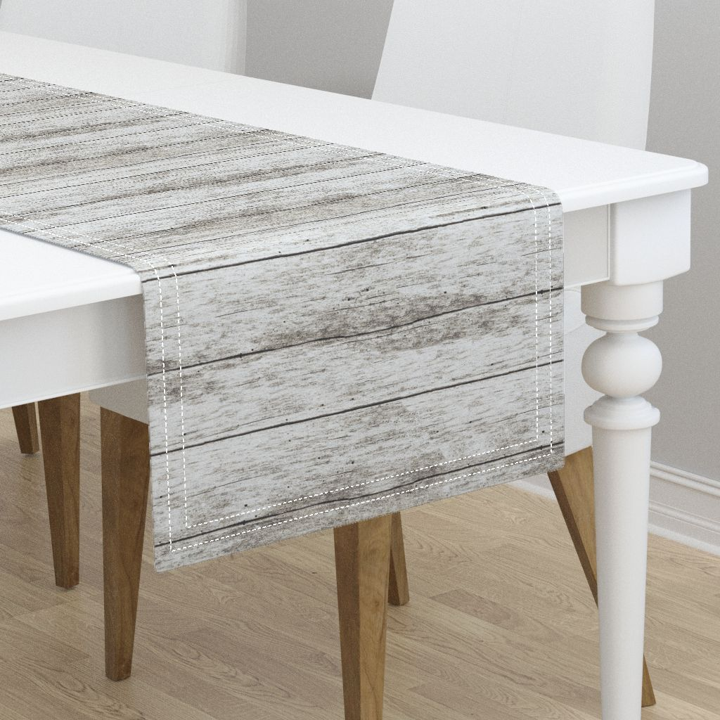 Table Runner Wood Grain Light Gray Brown Modern Home