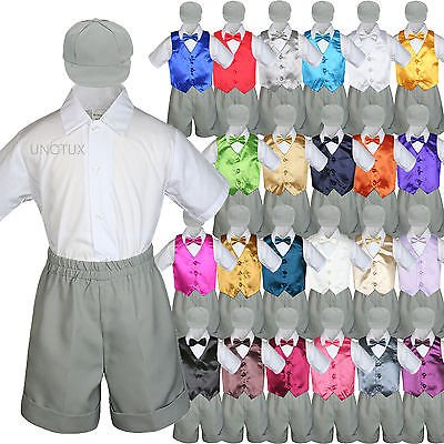 Gray Boy Toddler Formal Vest Shorts Suit Satin Vest Bow Tie Hat 5PC Set sz S-4T