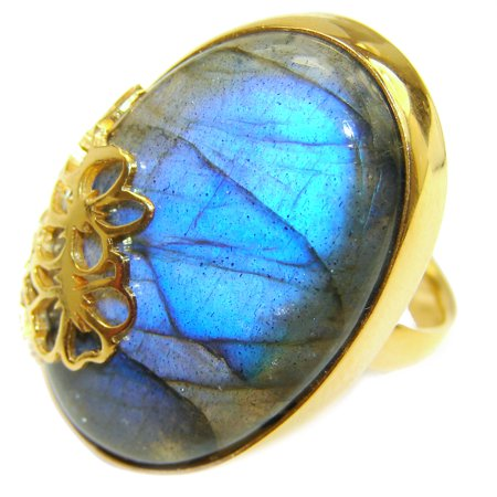 Regal Infinity Labradorite  18K Gold over .925  Sterling Silver Bali handmade ring size 8 by SilverRush Style
