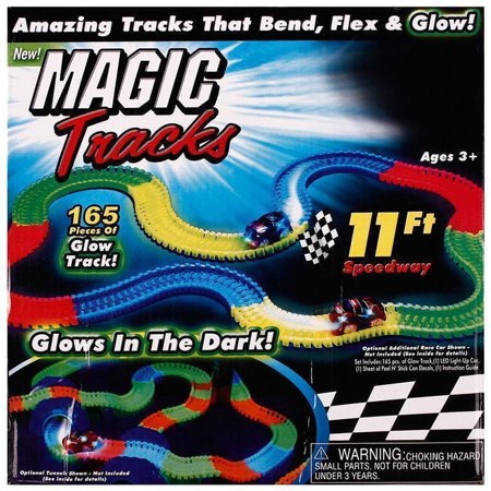 Magic Race Track, LED Track, 165 Pieces Of Tracks, Glow In The Dark LED Light Up Race Car Bend Flex