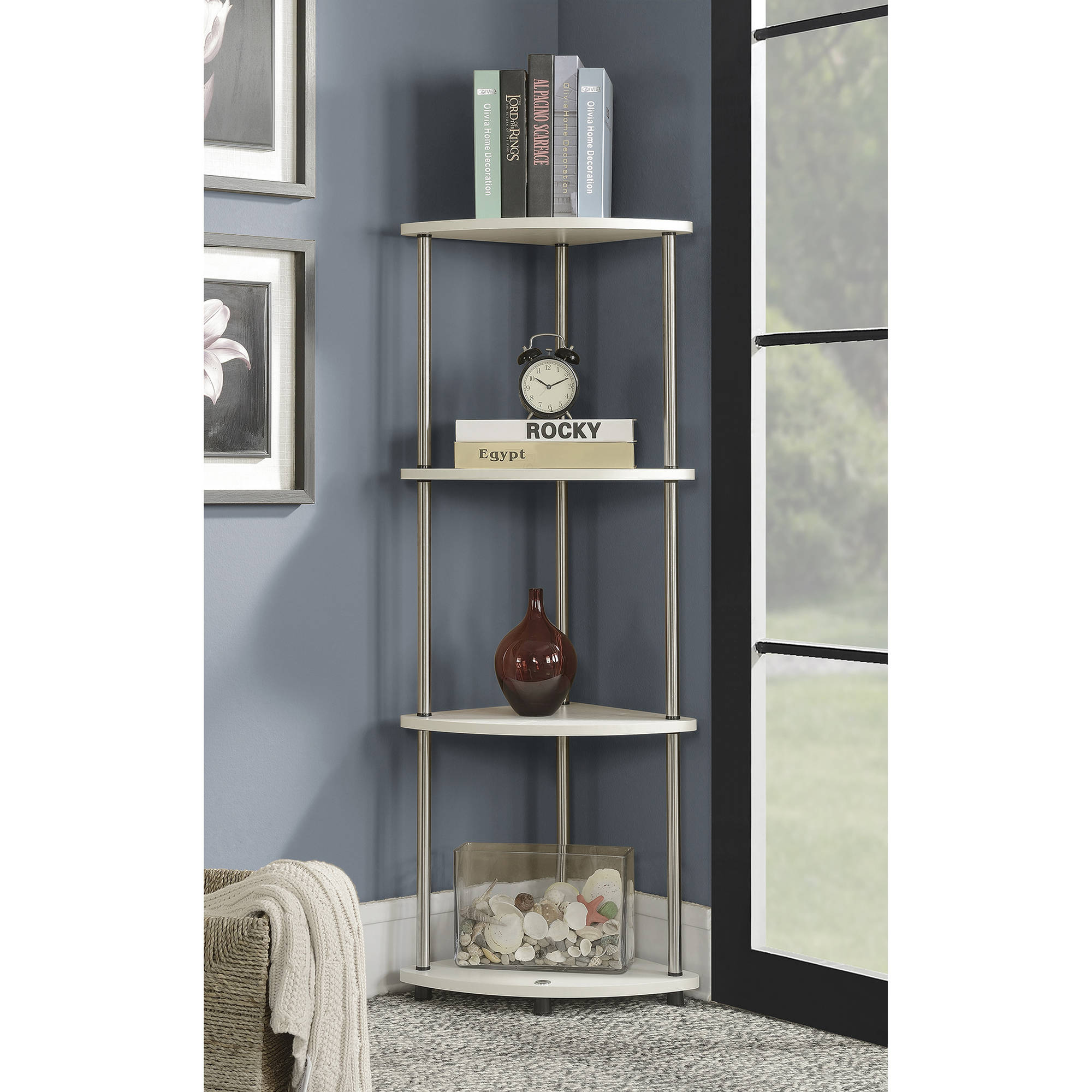 Convenience Concepts Designs2Go No Tools 4 Tier Corner Shelf, Black and Silver by Convenience Concepts