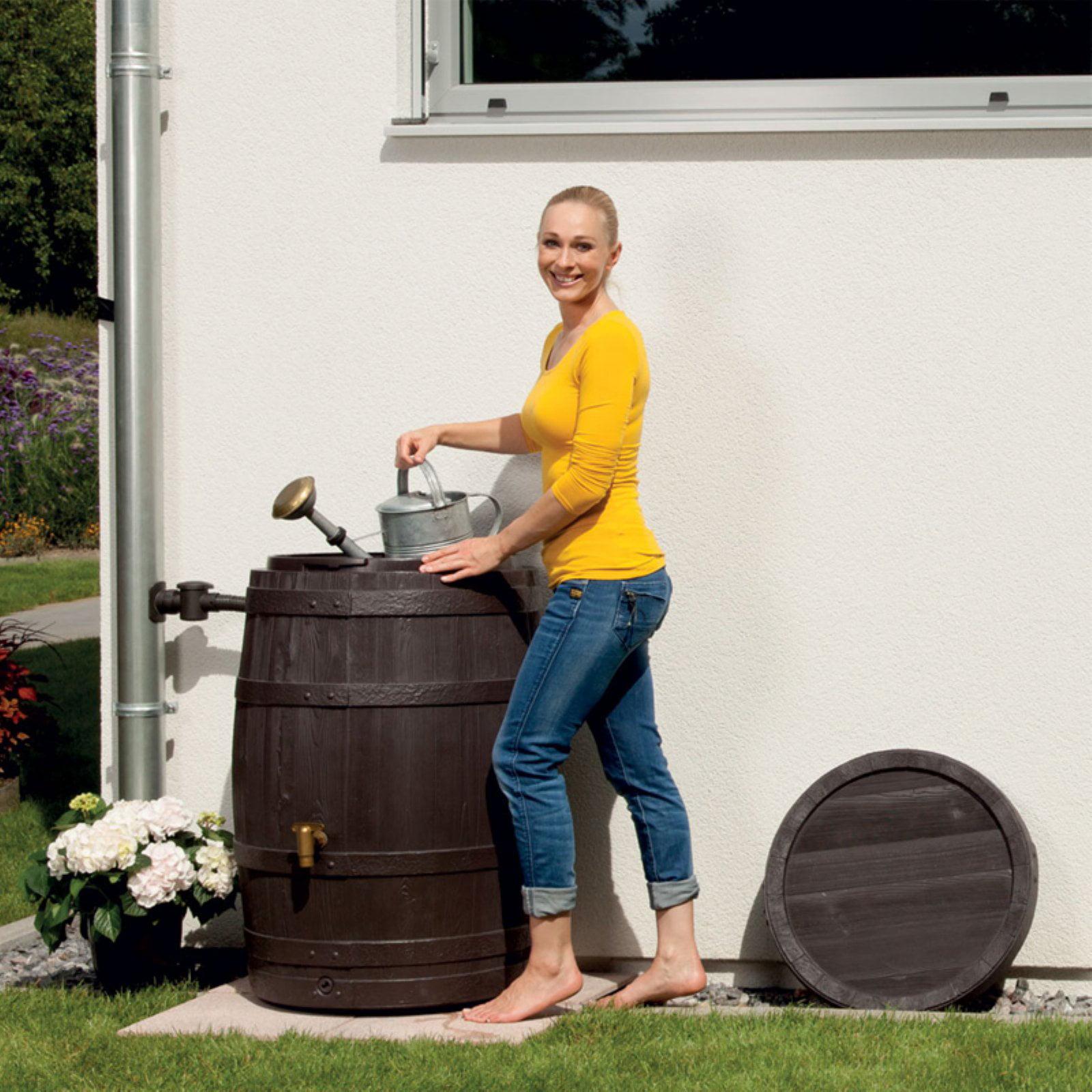 Exaco Vino 110-Gallon Rain Barrel with Planter Tray