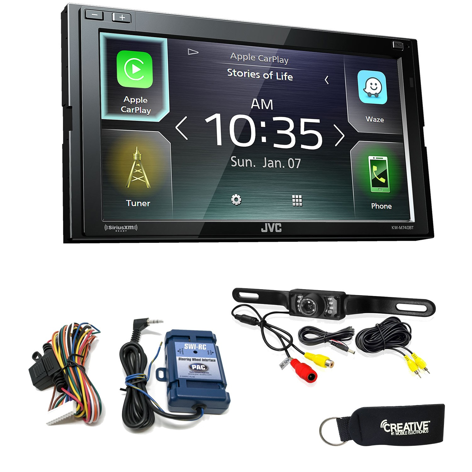 JVC KW-M740BT Compatible with Apple CarPlay, Android Auto 2-DIN Receiver (No CD) w/ back up camera & Steering Interface