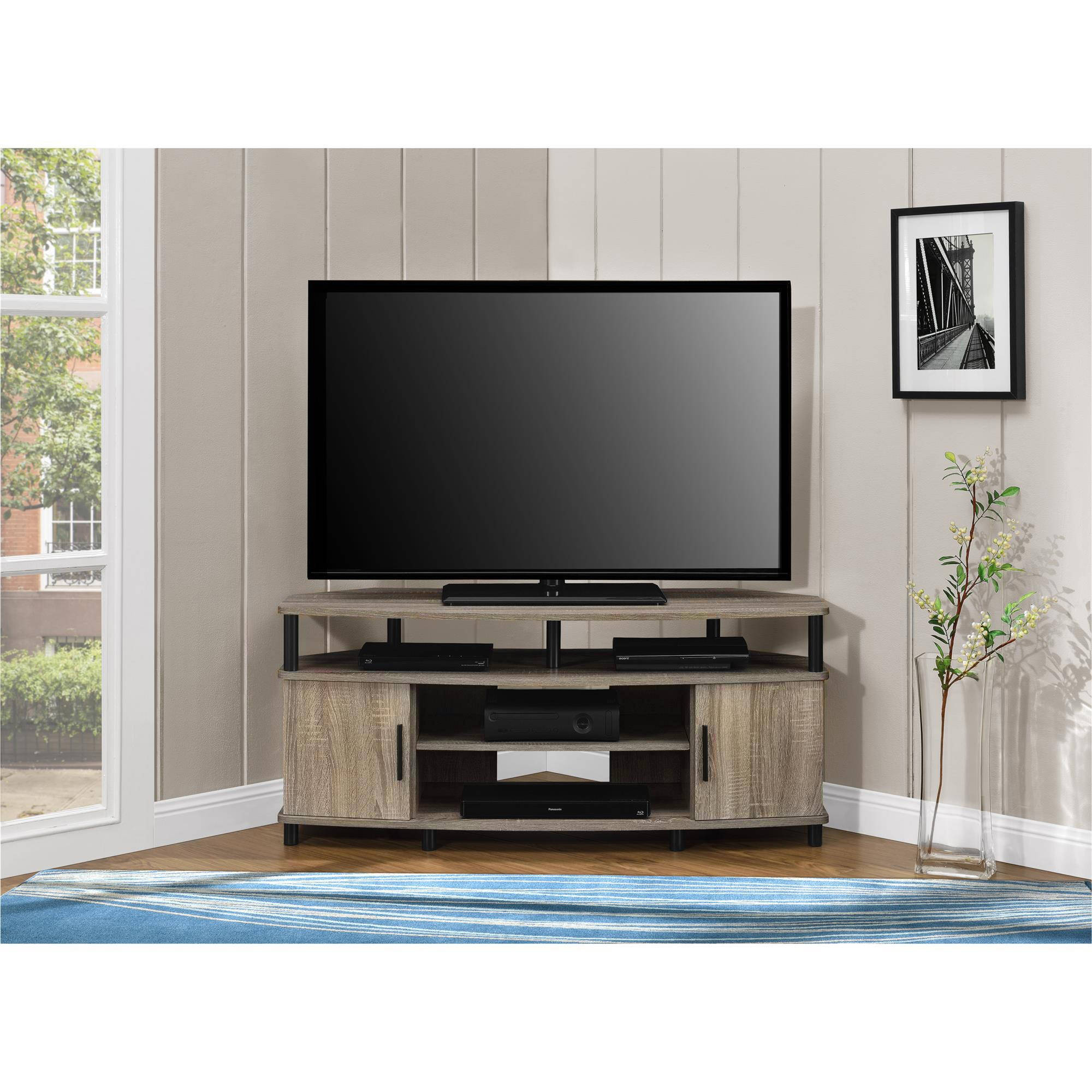 corner tv stand media console for flat screens sonoma oak. Black Bedroom Furniture Sets. Home Design Ideas