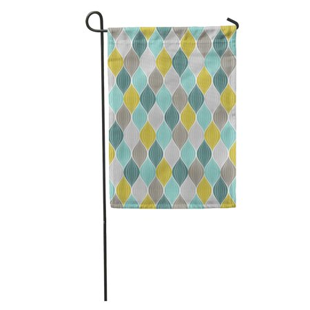 LADDKE Yellow Modern Abstract Pattern Geometric Vintage Color Green Mustard Antique Garden Flag Decorative Flag House Banner 12x18 inch