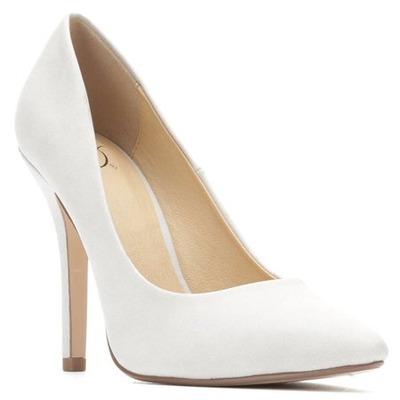 Dove Grey Date by Delicious Classic Pointy Toe Heels Women's Shoes ()