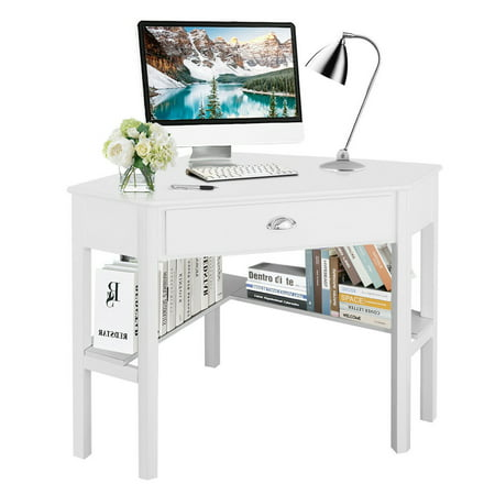 Costway Corner Computer Desk Laptop Writing Table Wood Workstation Home Office