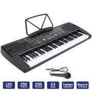 61-Key Portable Electronic Piano Keyboard with LCD Display and Microphone, Black