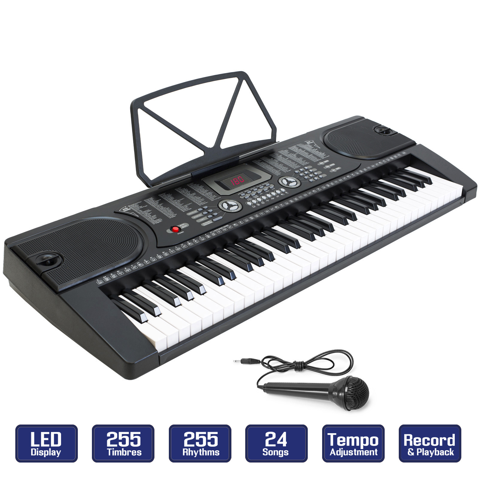 61-Key Electronic Piano Keyboard with LCD Display and Microphone - Portable - Black