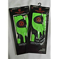 2 zero friction men's golf gloves, one size, left hand, lime green
