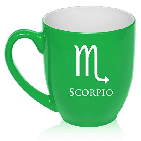 16 oz Large Bistro Mug Ceramic Coffee Tea Glass Cup Horoscope Zodiac Birth Sign Scorpio (Green)