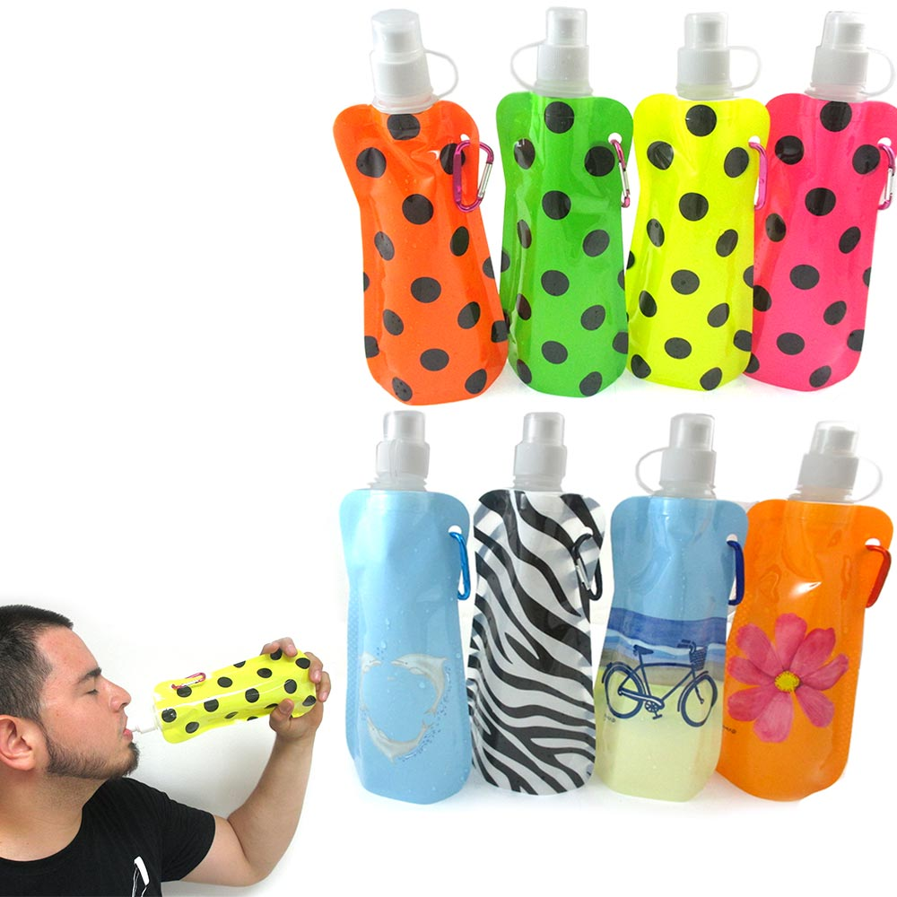 12 Pcs Multicolor Flexible Collapsible Foldable Reusable Water Bottles Ice Bag !
