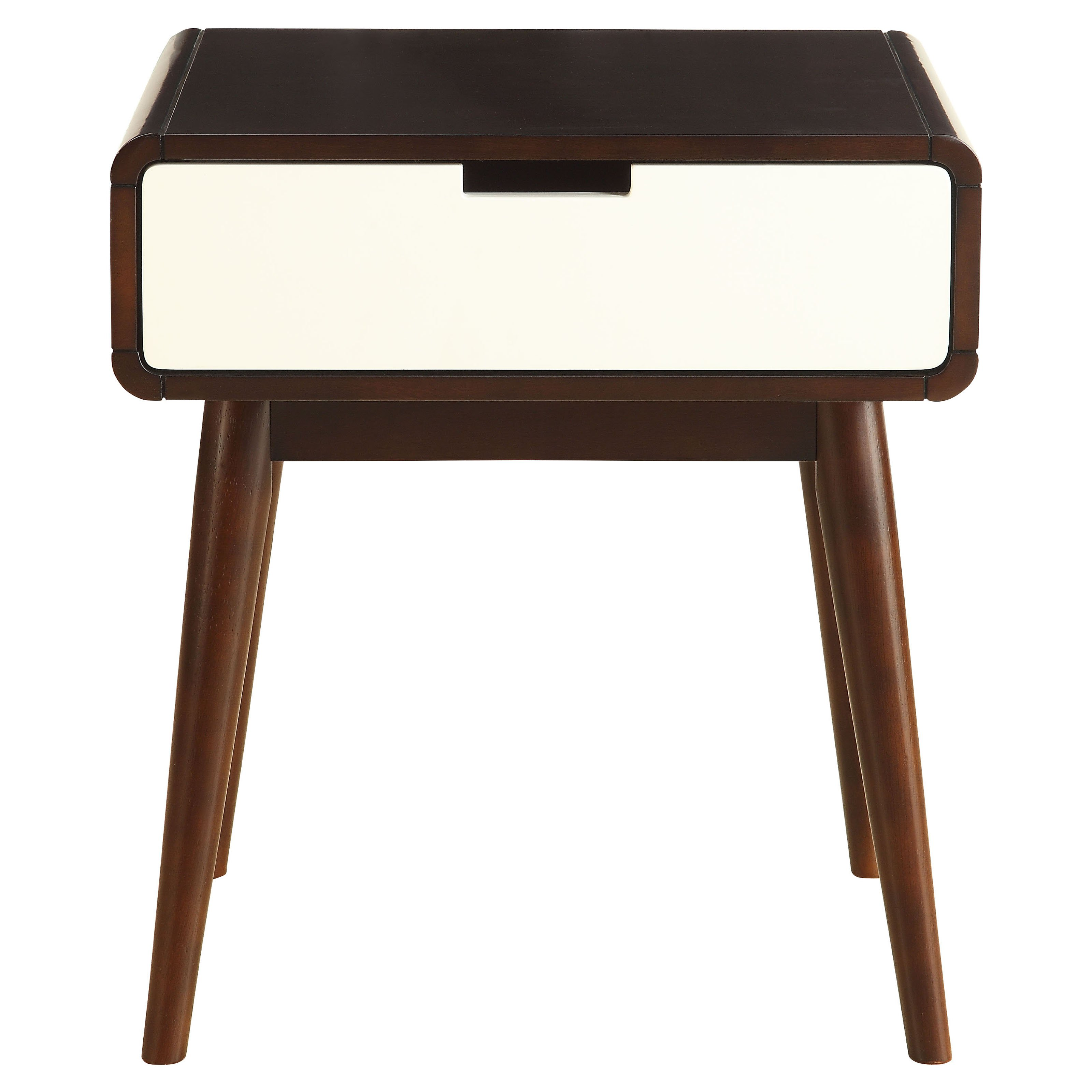 ACME Christa End Table, Walnut and White