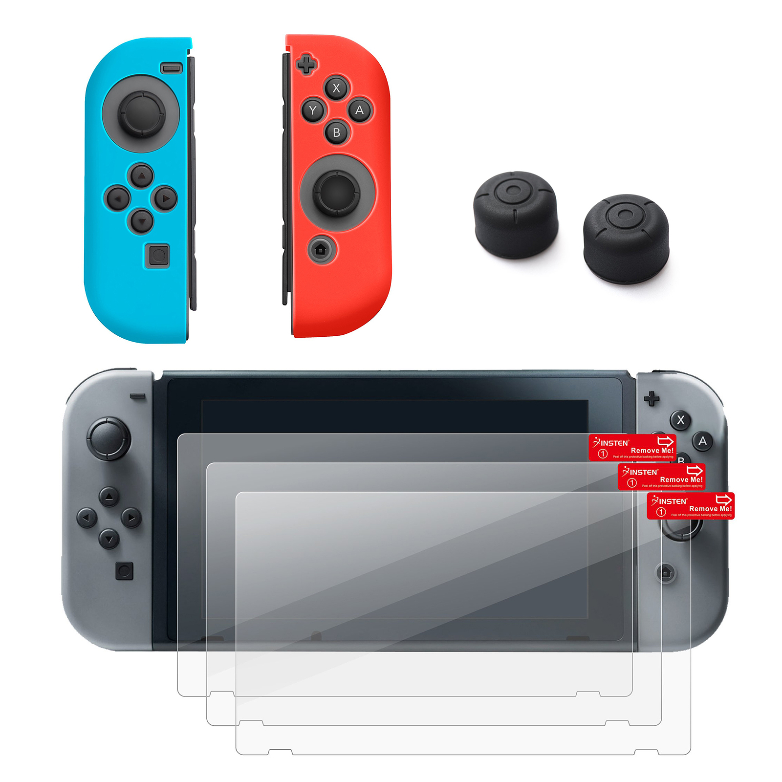 Nintendo Swtich 4 items Bundle, by Insten Joy-Con Controller Case Skin [Left BLUE/Right RED] + 3-pack Clear Screen Protector + Joy-Con Gaming Thumb Grip Stick Caps Style 2 for Nintendo Switch