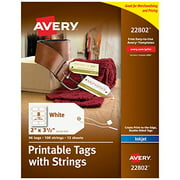 """Avery Printable Tags for Inkjet Printers Only, Tags With Strings, 2"""" x 3.5"""", 96 Tags (22802)"""