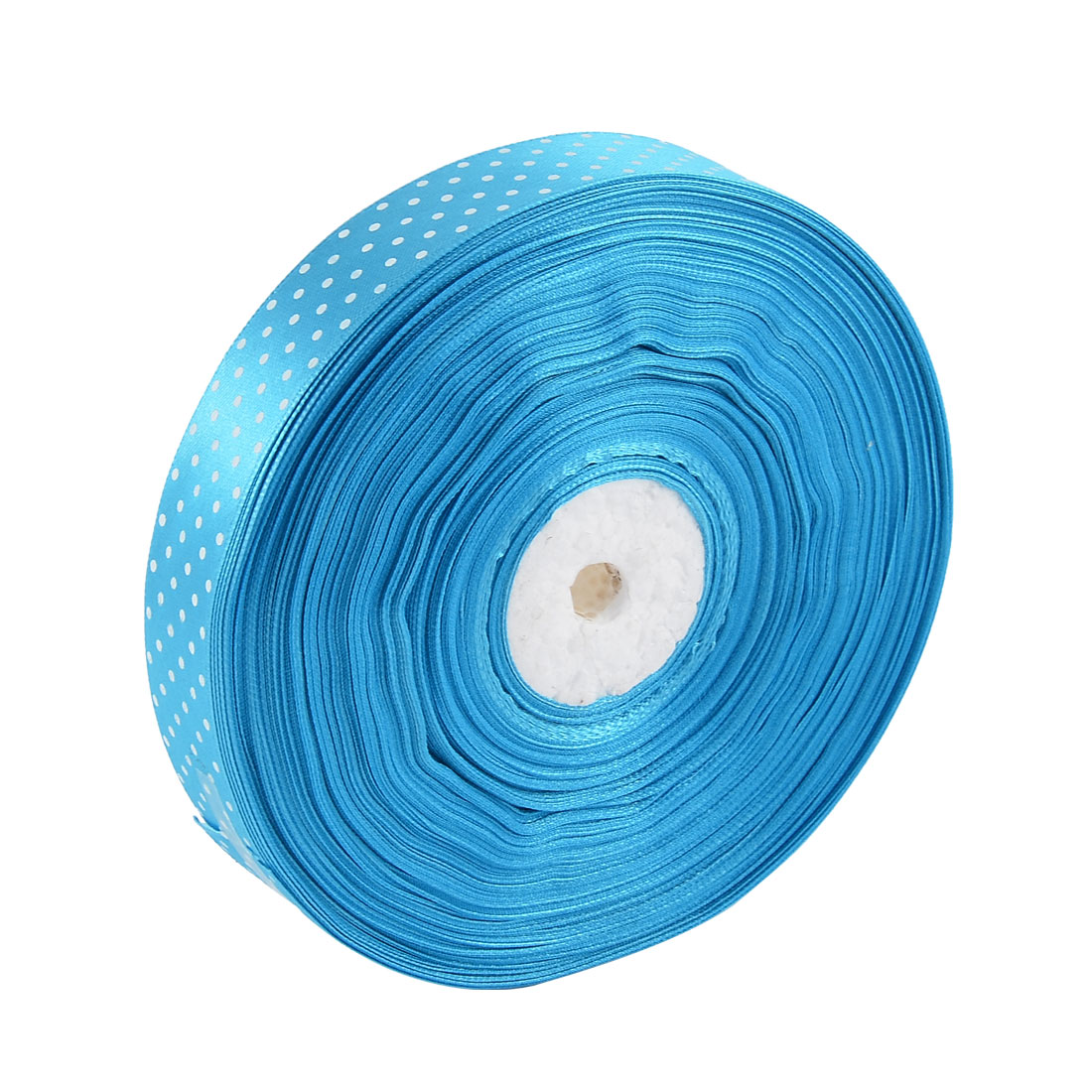 Polyester Satin Dot Printed Ribbon Roll DIY Gift Package Craft Blue 2.5cm Width