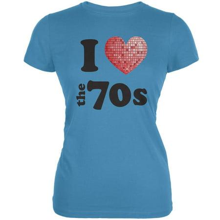 I Heart The 70s Aqua Juniors Soft T-Shirt - 70s Look For Kids